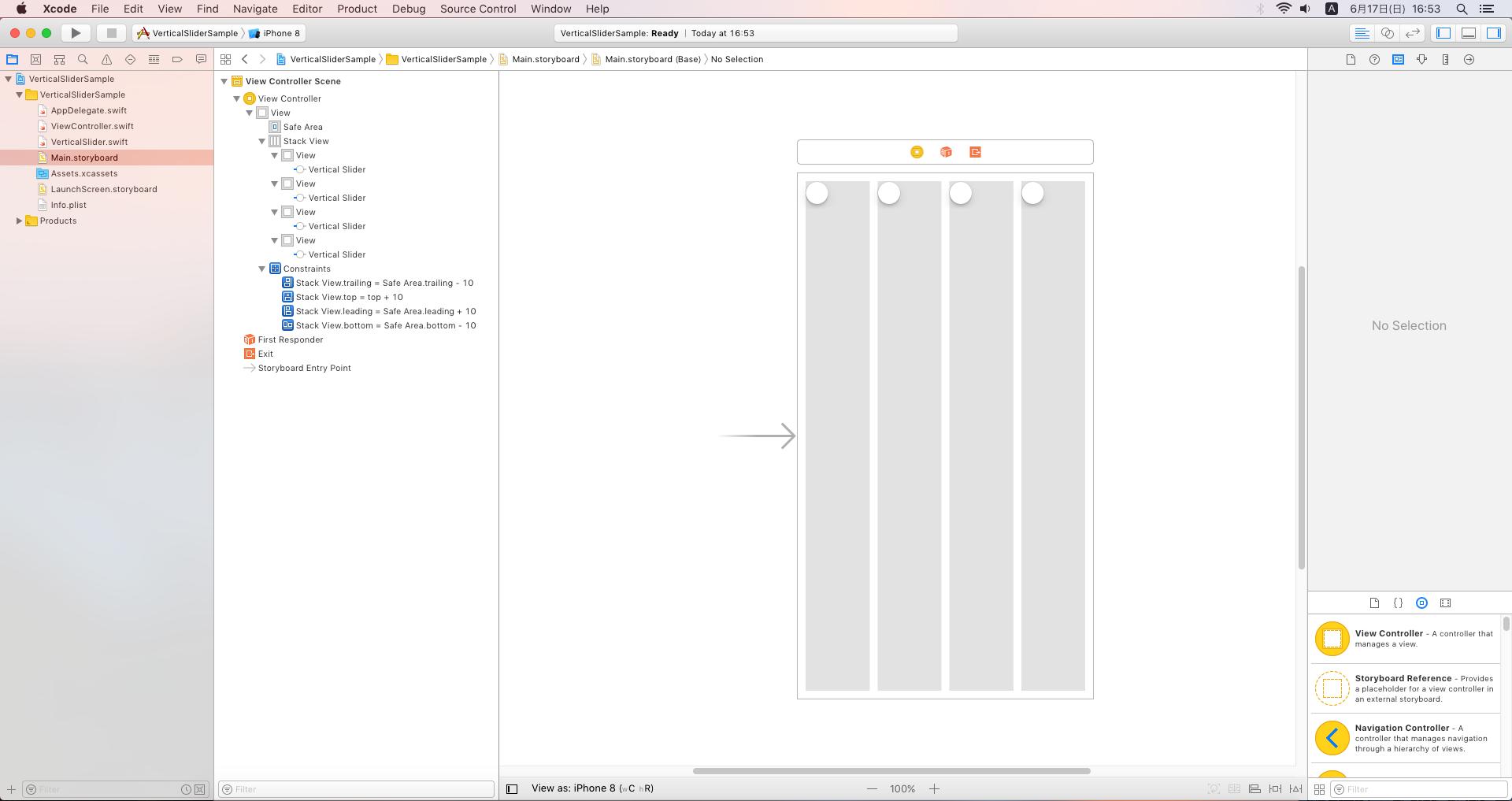 Vertical Slider Sample